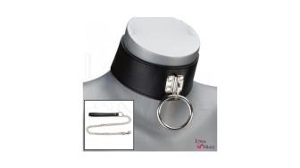 Test collier BDSM cuir 1 anneau et laisse